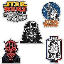 Juego de imanes de nevera La guerra de las galaxias - Juego de 5 imanes de refrigerador Star Wars - Halcón Milenario, Darth Vader, Darth Maul, Droids y R2-D2 - Diseño original con licencia - LOGOSHIRT