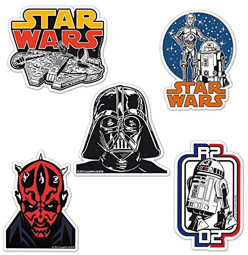 Set di magneti frigo Guerre stellari - Star Wars - Set di 5 magneti frigorifero - Millennium Falcon, Dart Fener, Darth Maul, Droidi e R2-D2 - design originale concesso su licenza -