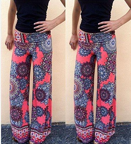 Bigood Pantalon Long Femme Large Jambe Droit Sport Yoga Plage Jogging Fleur Multicolore