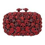 Bonjanvye Studded Skull Shape Clutch for Girls Halloween Kisslock Evening Bags Red