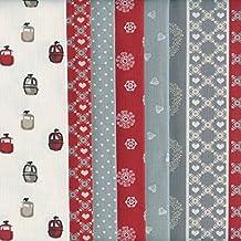 Textiles français Stoffpak - Bundle de telas - 6 telas (Colección Alpes - rojo) - colección de telas de coordinación (pequeños diseños) | 100% algodón | cada pieza 35 x 50 cm