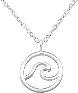 Monkimau - Collana da donna con ciondolo a forma di onda, in argento sterling 925, con catenina da 45 cm