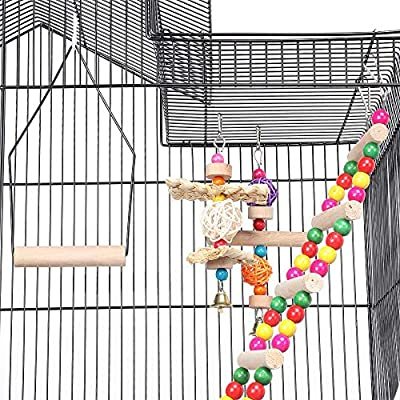 Yaheetech 39''H Roof Top Large Metal Bird Cage Parrot Cockatiel Conure Parakeet Budgie Lovebird Finch Pet Bird Cage w/1 Ladder & 2 Hanging Toys & 1 Swing 46 x 35.5 x 99 cm (LxWxH) from Yaheetech