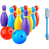 BKDT Marketing Bowling Set Game with 10 pin Bottles and 2 Balls Multi Color with USB LED Light