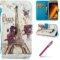 Galaxy A5(2017) Coque Housse Etui,Galaxy A5(2017) Étui Portefeuille,Hpory élégant Luxe Creative 3D Design Glitter Strass Painted With Lanyard Strap PU Cuir Case BookStyle Folio Support PU Leather Wallet Case with Magnetic Closure and Stand Function and Credit Card Holder Multifonction de Shell en Soft Silicone Bumber Protector Étui Anti-Poussière Anti-rayures et Shockproof Couverture Etui Coquille pour Samsung Galaxy A5(2017) + 1 x Hpory Stylus-(Tour)