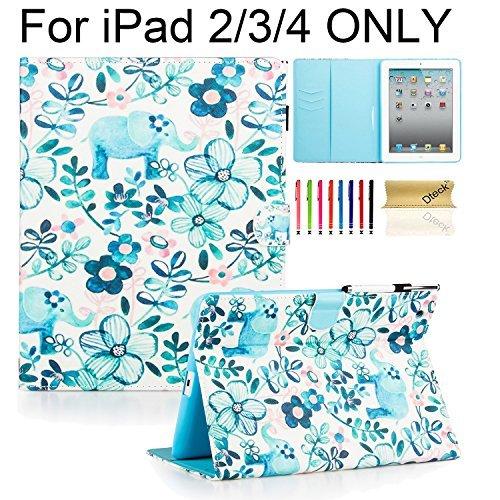 Preisvergleich Produktbild iPad 2 3 4 Hülle, Dteck(TM) Karikatur Niedliche PU Leder Schützhülle mit Ständer Brieftasche Kartensteckplätze Magnetischer Verschluss Etui für Apple iPad 2/3/4, Elefantenstamm