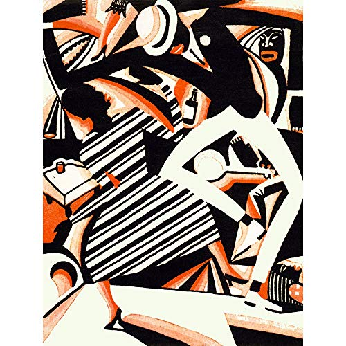 Wee Blue Coo LTD Painting Draw African American Jazz Two Tone Reiss Dance Music Art Print Poster Wall Decor Kunstdruck Poster Wand-Dekor-12X16 Zoll -