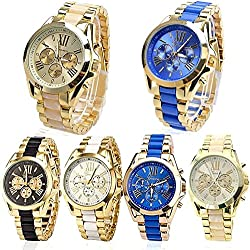 HeroNeo® Luxury Men Classic Stainless Steel Gold Dial Quartz Analog Bangle Wrist Watch