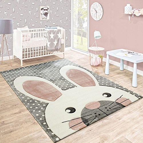 Paco Home Kinderteppich Kinderzimmer Konturenschnitt Niedlicher Hase Grau Creme Rosa, Grösse:80x150...