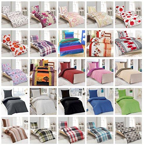 Baumwolle Renforcè Bettwäsche 2-4 teilig in verschiedenen Größen und viele Designs - 4 tlg. Set 2x135x200 + 2x80x80 cm Baumwolle Renforcè Bettwäsche Theo Wende + GRATIS 1x Waschhandschuh von Falco