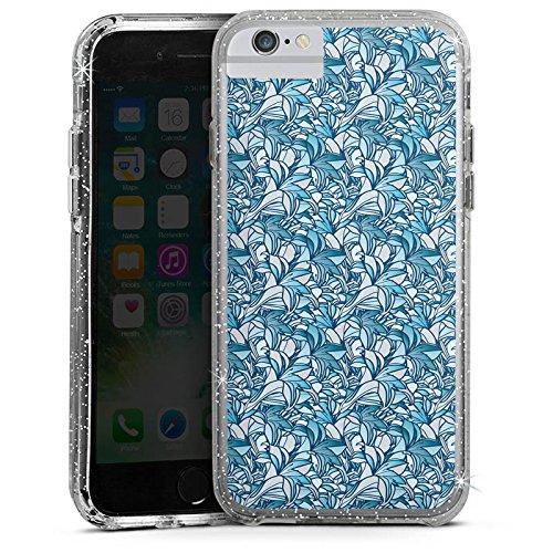 Apple iPhone 7 Bumper Hülle Bumper Case Glitzer Hülle Lilien Blue Blau Bumper Case Glitzer silber