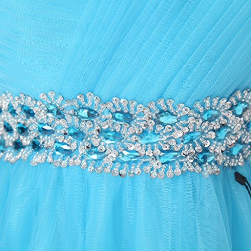Eudolah Robe de ceremonie/cocktail courte en tulle avec ornement de perles demoiselle d'honneur soiree Femme Bleu Marine