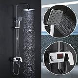 Homelody 3-Wege Duschsystem Duschset mit LCD Temperatur-Anzeige Regendusche Duscharmatur Dusche Rainshower inkl. Handbrause Überkopfbrause Brausestange (Typ A) (Mit Anzeige B)