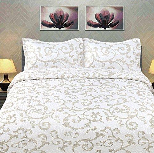 Dada Bettwäsche Kollektion Elegante Freesie Vineyard Quilt, Patchwork Tagesdecke Set, Floral Cal 3-teilig, weiß, California King