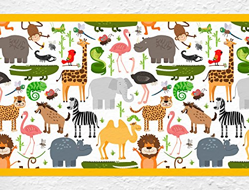 I-love-Wandtattoo b-10001 Kinderzimmer Bordüre 'Safari' Afrika Tiere Kinder
