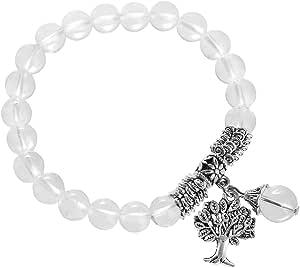 Kyeygwo Braccialetto elastico da donna con perle da 8 mm e ciondolo a forma di albero della vita, realizzato a mano, con pietre preziose naturali