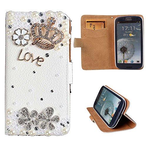 xhorizon® Premium Leder Tasche Flip 3D Blinkend Strass Diamant Kristall Stand Brieftasche Case Hülle für iPhone 4/4s/5/5s/6/6+ Plus Samsung GALAXY S3/S4/S5/Note2/Note3/S3 Mini/S4 Mini Krone und Love