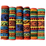 Mandhania Black Beach Cotton Hand Towels Pack of 6 ( 350 GSM Red and Black. 14 inch x 21 inch )