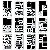 Zeichenschablonen, Yosemy 12 Stück Kunststoff Zeichnung Skala Vorlage Sets Grafiken Schablonen für Bullet Journal Scrapbooking