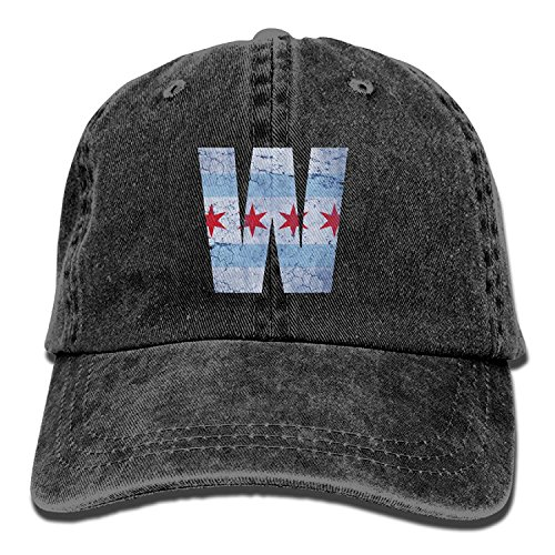 KKAIYA Unisex Adult Chicago City Flag Winner W Washed Denim Retro Cowboy Style Baseball Cap Sun Hat Trucker Hat Adjustable Dad Hats (City Sports Newsboy Caps)