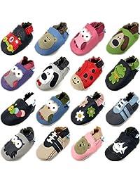 MiniFeet Premium Weich Leder Babyschuhe Jungen und Mädchen Babyschuhe - Neugeborene bis 3-4 Jahre