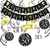 Konsait 50. Geburtstag Dekoration Set, Cheers zum 50. Geburtstag Girlande Banner Folie Spirale Hängedekoration, perfekte für Alle Männer und Frauen 50. Geburtstag Party deko