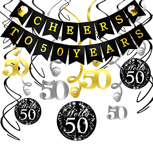 Konsait 50. Geburtstag Dekoration Set, Cheers zum 50. Geburtstag Girlande Banner Folie Spirale Hängedekoration, perfekte für Alle Männer und Frauen 50. Geburtstag Party deko (50-geburtstag-dekorationen Für Ihr)