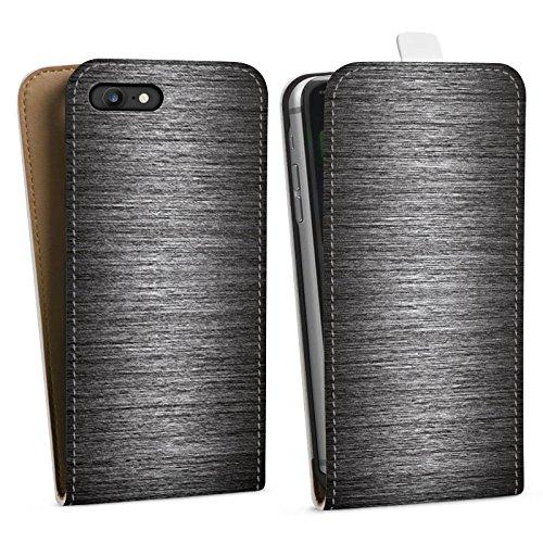 Apple iPhone X Silikon Hülle Case Schutzhülle Metall Look Muster Downflip Tasche weiß