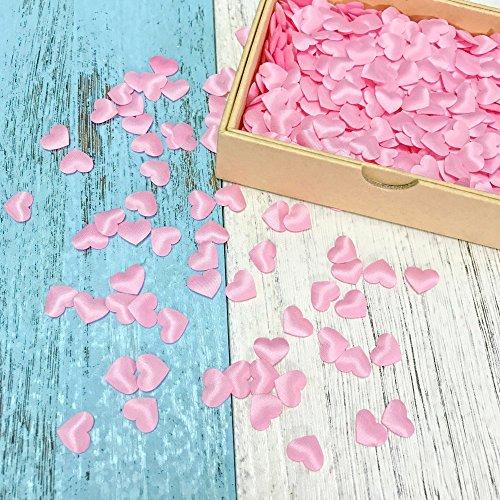 JZK® 3000 x 13mm rosa Herz Konfetti biologisch abbaubare Stoff 3D Tisch Confetti, Handwerk Geschenk Dekorative Zubehör, für Hochzeit Geburtstag Valentinstag Party Taufe Baby Party (rosa 3D Herz)