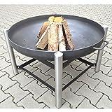 Köhko® Designer-Feuerschalenständer (Höhe 60 cm) aus Edelstahl mit schwarzen, kunstvoll Verzierten Eisenstreben + Feuerschale Ø 79 cm 42016
