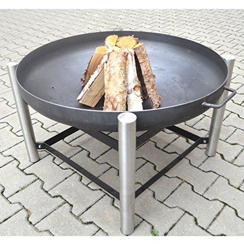 Köhko Designer-Feuerschale Ø 79 cm + 2 Griffen mit Ständer (Höhe 50 cm) aus Edelstahl und lackierten Eisenstreben 42019-41002