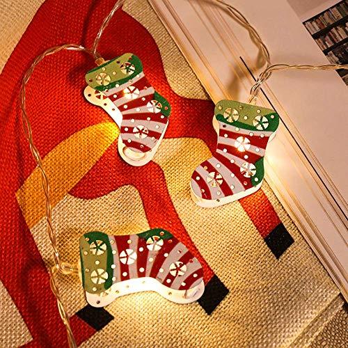 Weihnachtsstrumpf Lichterketten, 20 LED-Lichterketten Für Drinnen Und Draußen, 3 X AA-batteriebetriebene, Glänzende Vorhangbeleuchtung Für Weihnachten/Hochzeit/Party/Gartendekoration, 3 M (warmw