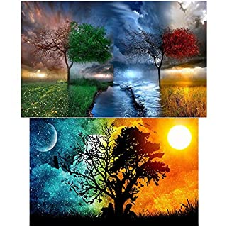 Aneco 2 Pack 5D DIY Diamond Painting Kit Full Drill Rhinestone Embroidery Wall Stickers with Embroidery Tools for Room Decoration, Four Season Tree and Starry Sky