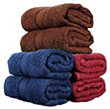 #2: Trident Piece Dyed Home Essentials Cotton 6 Pcs Hand Towel Set, 400 GSM - Brown,Midnight Blue & Red