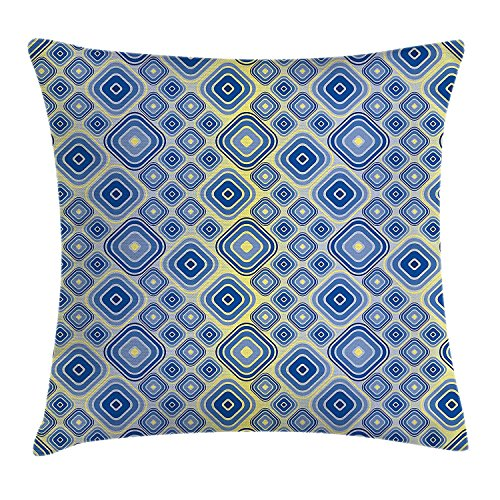 Trippy Throw Pillow Cushion Cover by, Geometric Inner Squares in Gradient Tones Retro Style Abstract Art Pattern, Decorative Square Accent Pillow Case, 18 X 18 Inches, Light Blue Yellow