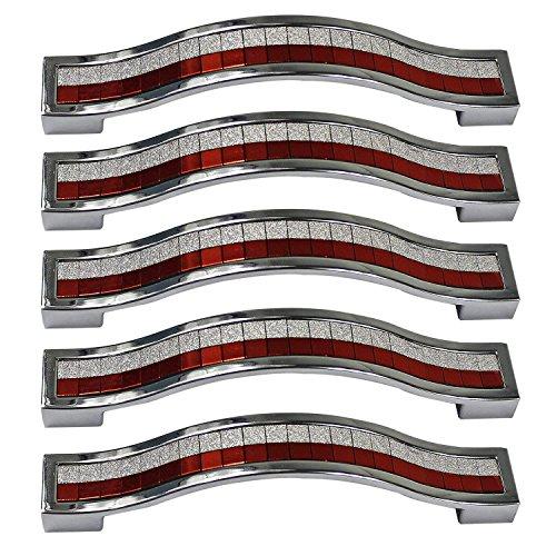 PsmGoods® Strass Kristall Schublade Knobs Europe Stil zine-alloy Möbel Tür Pull Griff für Kommode Schrank Küche Regler (96MM-5PCS, Red & White)