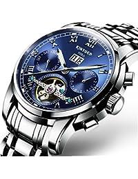 Swiss Men's Stainless Steel Blue Tourbillon Automatic Mechanical Watch