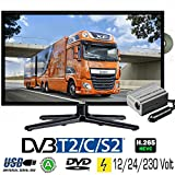 Gelhard GTV-1962 LED Fernseher 19 Zoll TV DVD DVB-S/S2/T2/C 230/12 Volt 24 Volt für LKW KFZ Truck