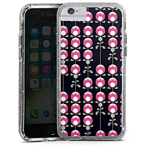 Apple iPhone 7 Bumper Hülle Bumper Case Glitzer Hülle Retro Tulpen Flowers Blumen Bumper Case Glitzer silber