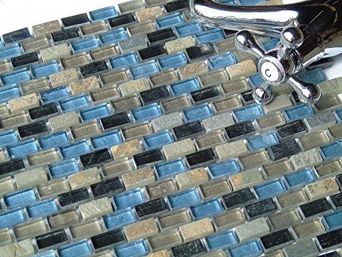 10cm x 10cm Muster. Mosaik Fliesen Muster in Blau, Schwarz und Silber in Glas und Naturstein. Texturiert Ziegelstein Effekt (MT0126 Muster)