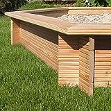 Gartenpirat® Premium - Sandkasten 6-eckig aus Holz Lärche unbehandelt Ø 230 cm -