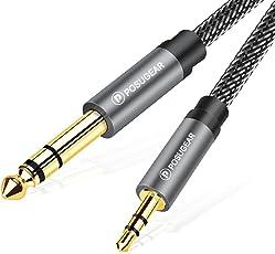 POSUGEAR 3.5mm Klinke auf 6.35mm Klinke Kabel 2M, Nylon Geflochten 6.35mm Klinkenstecker auf 3.5mm Aux Audio Stereo Kabel Stereo für iPod, Laptop, Heimkino Gitarre Lautsprecher HiFi Anlage (Grau)