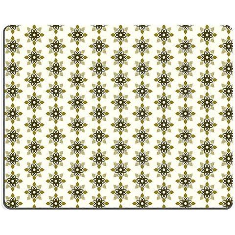 MSD-Tappetino per mouse in gomma naturale, gioco foto ID: 34848170 motivo floreale tribale e coppia su fondo giallo chiaro con fiore Vintage e senza cuciture, in stile antico, motivo: It's good per curtai