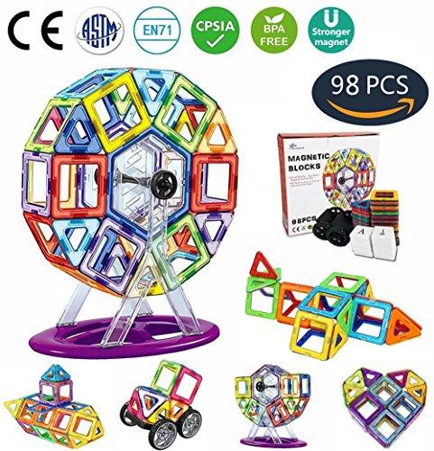 Jasonwell 98 PCS Creative Magnetic Building Blocks for Boys Girls Magnetic Tiles Building Set Preschool Educational Construction Kit Magnet Stacking Toys Christmas Gift for Kids Toddlers Children