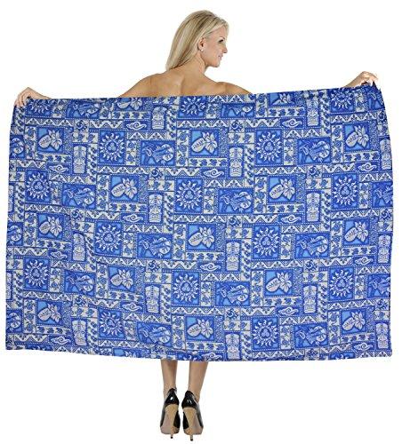 La Leela rayon solido costume da bagno cucita sarong coprire pareo 78x39 pollici scuro Blu Acceso