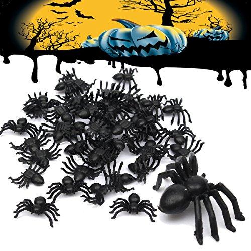Tutoy 50Pcs Halloween-Plastikspinnen-Spinnen-Lustige Witz-Spielzeug-Dekoration (Bein Lampe Halloween Kostüm)
