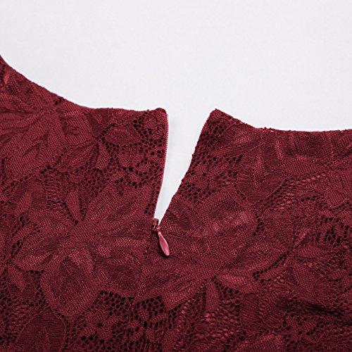 Kate Kasin Damen Spitzenkleider Ärmellos Knielang Rockabilly Vintage Kleid KK850 KK850-2