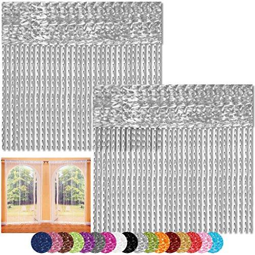 Bestlivings Fadenvorhang 2er Pack Gardine Raumteiler, Auswahl: 90x240 Silber - hellgrau