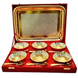 Odna Bichona Royal Wedding Gift Silver And Gold Plated Brass Bowl And Tray Set Of 13 Pcs (37.465X27.94X27.305, Silver And Gold)