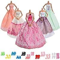 Asiv 17 pz ropa y zapatos para Muñeca Barbie - 5 piezas moda vestido de novia